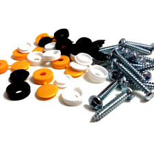 36 PIECE REPLACEMENT NUMBER PLATE FIXING KIT SELF TAPPING SCREWS & PLASTIC CAPS