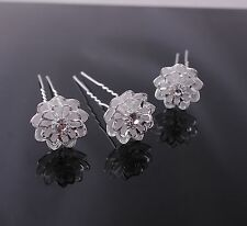 10pcs Silver Plated Mesh Flowers Crystal Hairclip Women Wedding Hair Pin  H0209
