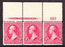 US 279Bf 2c Washington Plate #562 Strip of 3 Mint F NH/LH SCV $75