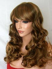 Curly Women Fashion Fringe Brown Blonde party full Hair Ladies Lady Wig B24