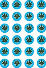 "Hash Leaf Marajuana Blue Cup Cake Toppers 24x1.5"" Baking decoration accessory"