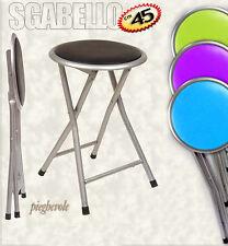 Sedia sgabello pieghevole h45 seduta imbottita e struttura in metallo colori ass