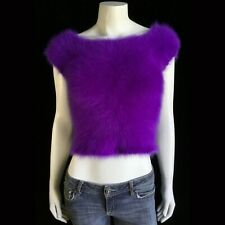 """Fuzzy 100% Angora Vintage Hand-Knit Short-Sleeve Cropped Sweater 29""""-Bust"""
