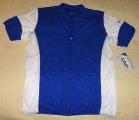 2XL Men's Schwinn Pro Blue & White Cycling Jersey Full Zipper Pouch Bicycle XXL