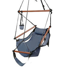 Hammock Chair Swing Seat Outdoor Garden Patio Yard Single Hanging Rope Blue