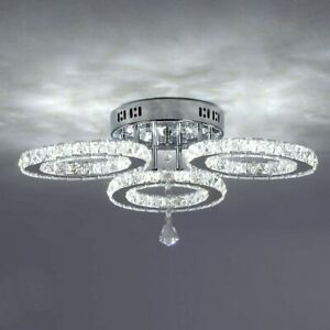 Crystal Chandelier, Led Ceiling Light Flush Mount Modern Stainless Steel Pendant