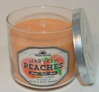 BATH BODY WORKS FRESH PICKED HARVEST PEACHES SCENTED CANDLE 3 WICK 14.5 OZ LARGE