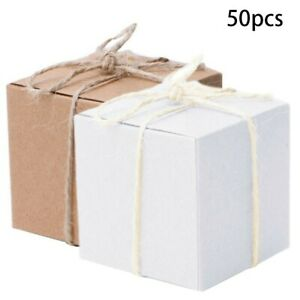 Kraft Paper Square 50pcs  Sweet Candy Gift Boxes Wedding Party Favors Useful