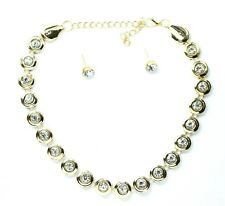 New Necklace Earrings Sets Prom Wedding Party Bridal Jewelry Diamante Crystal UK