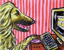 Afghan Hound Computer picture 13x19 artist art print dog prints