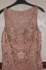 SUE WONG Champagne Nude Beaded Dress Prom Cocktail Party EUC 8 £450