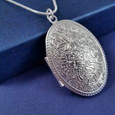 925 Silver Plated Oval Flower Design Photo Locket Pendant Necklace *UK*