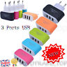 3 Ports USB Multi Adapter Travel Wall Home Travel AC Charger EU Plug For Phones