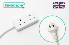World Wide Travel Adapter NORFOLK ISLAND Extension Lead Multi 2 UK Plug to 3 ...