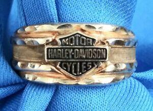 MEN'S BIKER 10KT GOLD *HARLEY DAVIDSON* BLACK HILLS RING, SIZE 10 YELLOW 6 grams