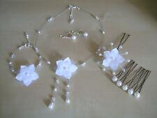 Parure complète Fleur Bijoux Blanc p robe de Mariée/Mariage, perles (pas cher)
