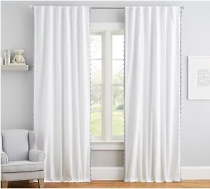 "POTTERY BARN KIDS nwt Cotton Gray Pom Pom BLACKOUT Curtain 84"" long 44"" wide NEW"