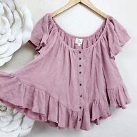 LOVE Thermal Crop Ruffle boho Top Juniors Size Medium Pink Short Sleeve Pullover