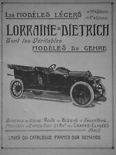 PUBLICITÉ DE PRESSE 1911 LORRAINE DIETRICH LES MODÈLES LÉGERS