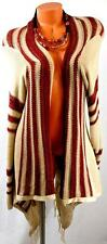 MAURICES TAN BROWN red STRIPED CORCHET FRINGE LIGHT WEIGHT CARDIGAN SWEATER 1,1X