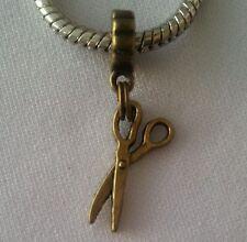 Scissors Hairdresser Bronze Dangle Bead for European Style Charm Bracelet