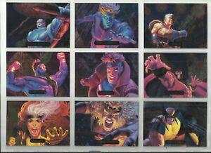 1994 Marvel Masterpieces (Fleer) POWERBLAST Complete Set of 9 Chase Cards (1-9)