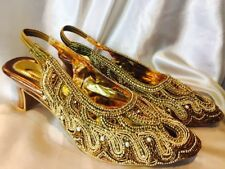 Size 7 Ladies Indian Bollywood Bridal Shoes Heels Slip On Sandals Bronze Gold J2