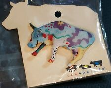 "Cow Parade ""Cow Doodle"" Enamel Figurine Jewelry Pin 2002 Collection NWT"
