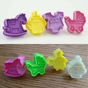 4PCS Kitchen 3D Baby Shower Theme Cookies Cutter Mould Cake Cookie DIY Decor