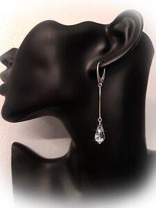 Swarovski Elements Silber 925 Tropfen lange Ohrringe, Ohrhänger Crystal NEU!