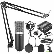 Studio Microphone Kit Shock Mount Phantom Power Supply Home Recording Podcast