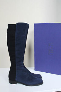 sz 10 M Stuart Weitzman Half N Half 50/50 Knee High Blue Suede Flat Boot Shoes