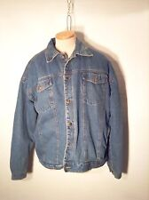 Esquire Men's Sherpa Lined Denim Blue Jean Jacket Snap Button Size Extra Large