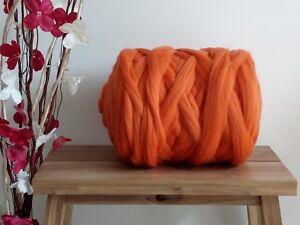 Orange* Merino Wool Dry Wet Felting Giant Yarn Extreme Arm Knitting 100g - 4kg