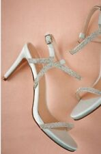 New BIBI LOU 8  EU 38 Mint Blue Crystal Strappy sandals satin Bridal Shoes Heels