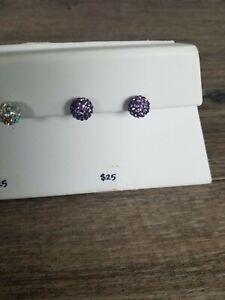 Beautiful Swarovski Crystal Elements line Round Post Earrings In Tanzanite.