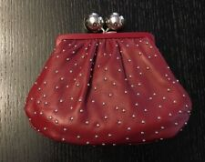 Tiffany & Co. Leather Studded Vivian Ball Closure Clutch Bag - Red