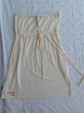 Fenchurch Summer Dress Bandeau Cream With Pink Spots Strapless Size Xs Cotton