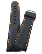20 mm Reloj Correa de goma de silicona suave con costuras en naranja/Correa de Reloj