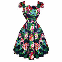 Hearts & Roses London Navy Blue Floral Retro 1950s Flared Tea Dress UK