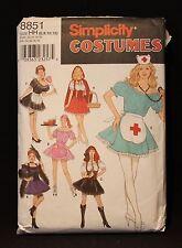 Simplicity Halloween Costumes 8851 Nurse Maid Pirate Car Hop SZ 6-12 NEW Uncut