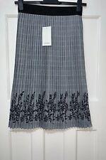 Zara Black-white Pleated Check Embroidered Midi Skirt Size M