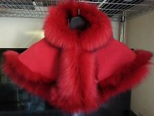 RED BABY GIRL LONG FLUFFY FAUX FUR HOODED WINTER CAPE COAT PONCHO XS 6-18 MONTHS