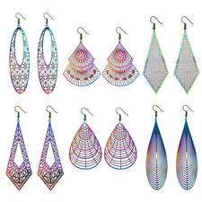 New Rainbow Hollow Carving Stainless Steel Hook Drop Earrings Jewelry Women Gift