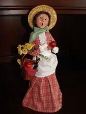 Byers Choice Christmas Caroler Woman Basket of Wine Flowers Bread Apples SPRING
