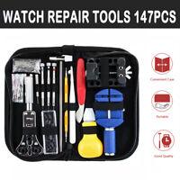 147Pcs Watchmaker Watch Repair Tool Remover Spring Pin Bar Kit Back Case Opener