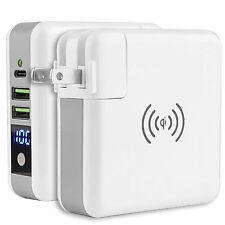 Portable Wireless Charging Power Bank Quick Fast Charger USB Wall Adapter Travel