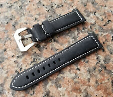 """CLEARANCE 24mm Black Genuine Calf Leather Watch 8.5"""" Band Strap White Stitches"""