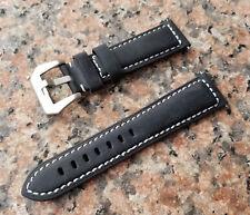 Men 22mm Black Genuine Soft Calf Leather Watch Band Strap XL White Stitches+Pins