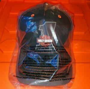 New w/Tag Harley Davison Rubber #1 Flex Fit Hat Lg/Xl Gray, Black and Orange